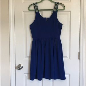 Blue semi formal dress with floral straps